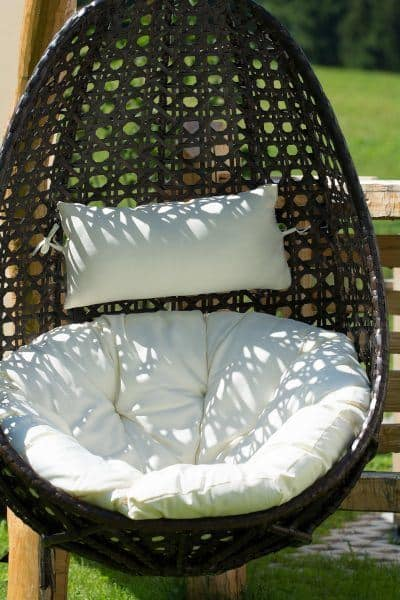 Egg Chair with White Cushions