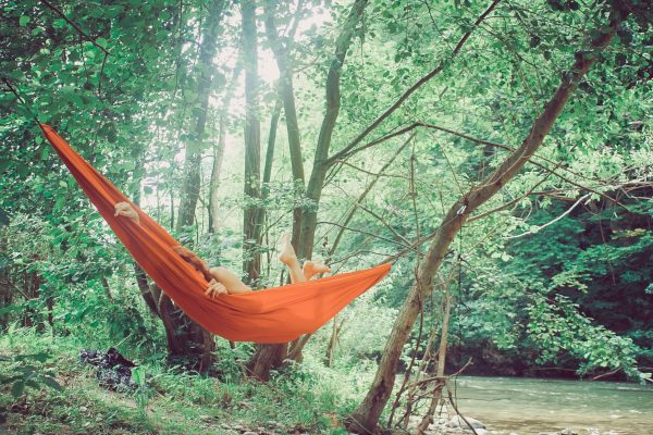 Red Backpacking Hammock by the River
