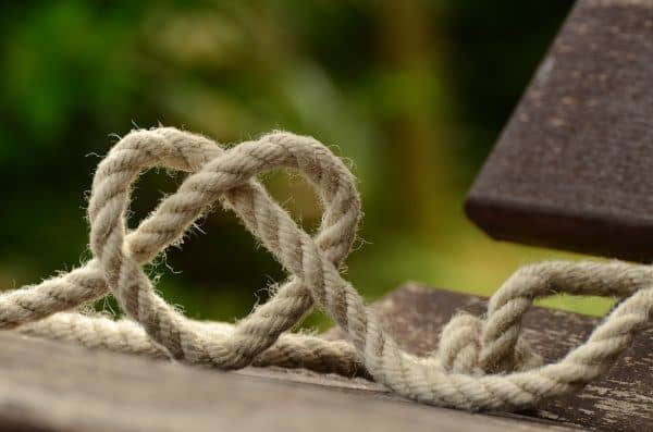 Rope Knotted into Heart Shape