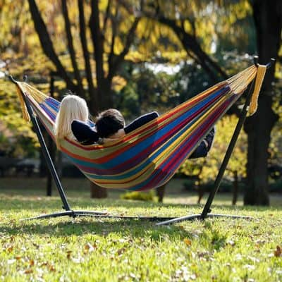 Vivere Double Cotton Hammock In Use